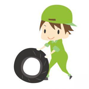 タイヤを確認する男性