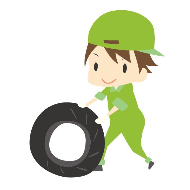 タイヤを点検する男性